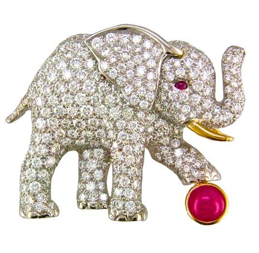Oscar Heyman & Brothers Diamond & Ruby Elephant Brooch