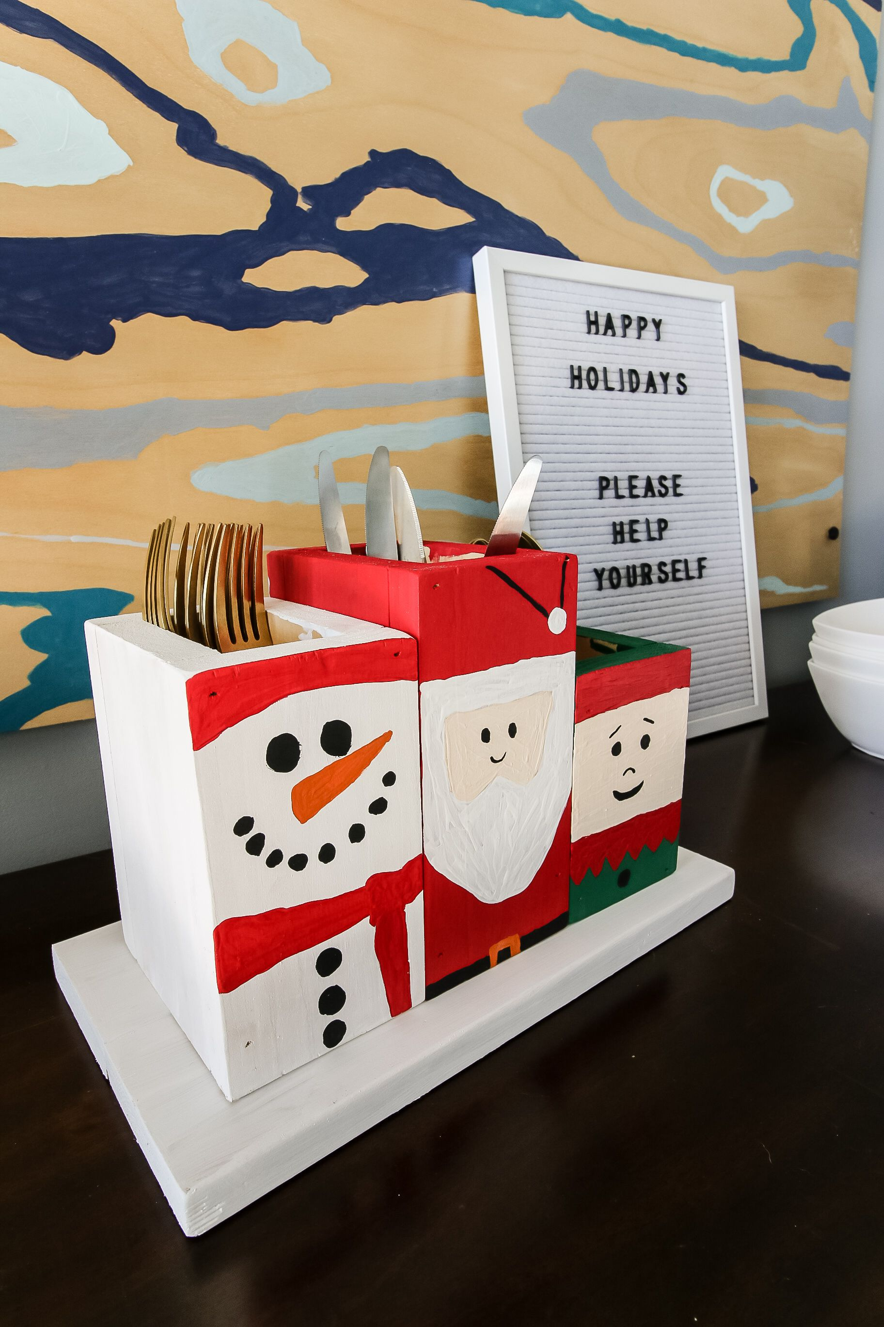 Holiday Painted Silverware Caddy Dollar Tree Decor Reindeer