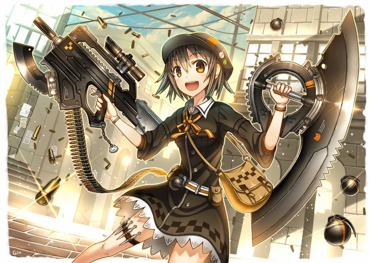 anime girl with short black hair and yellow eyes Girl