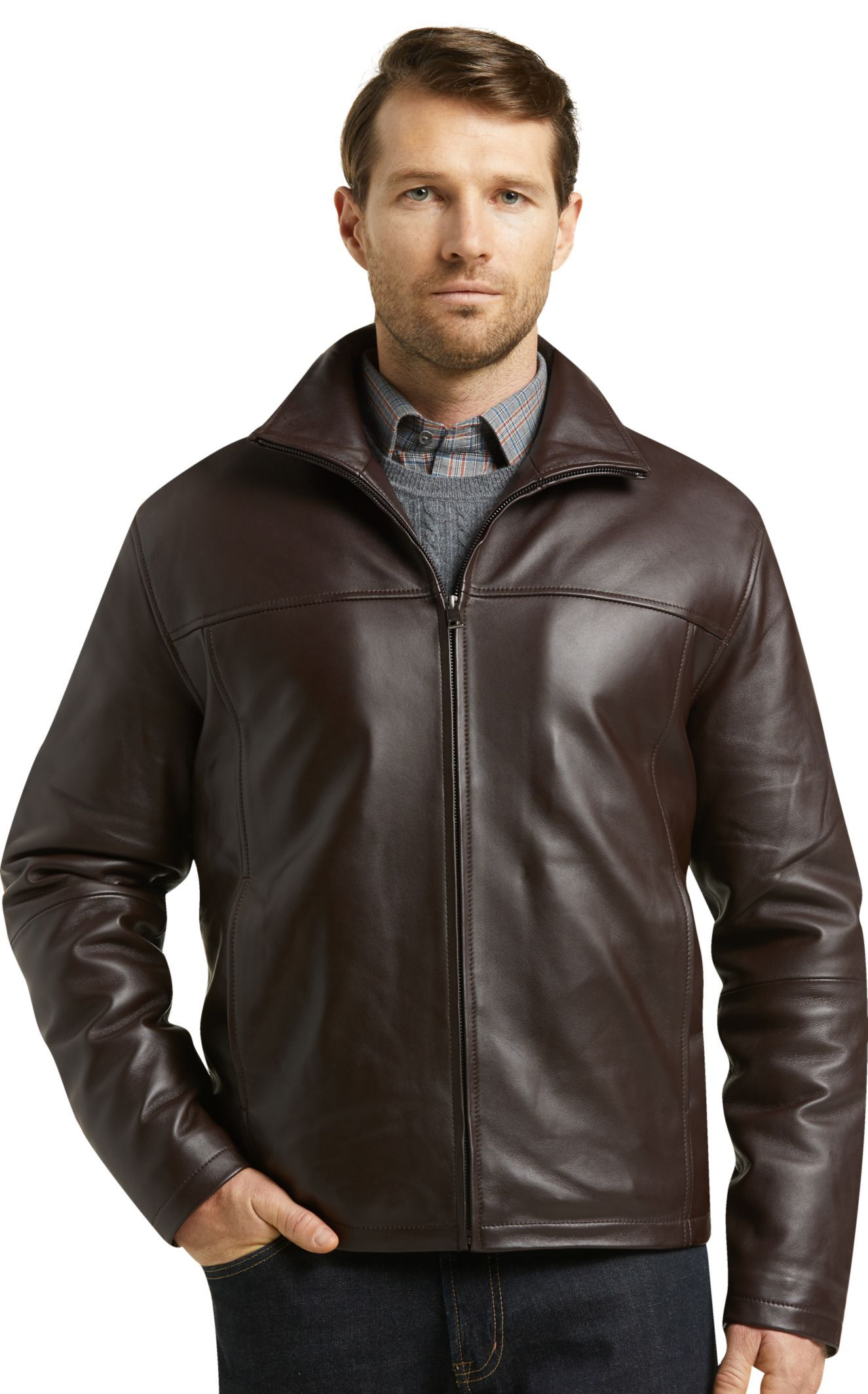 Reserve Collection Traditional Fit Leather Jacket Clearance All Clearance Jos A Bank In 2021 Leather Jacket Leather Jackets Online Jackets [ 2128 x 1325 Pixel ]
