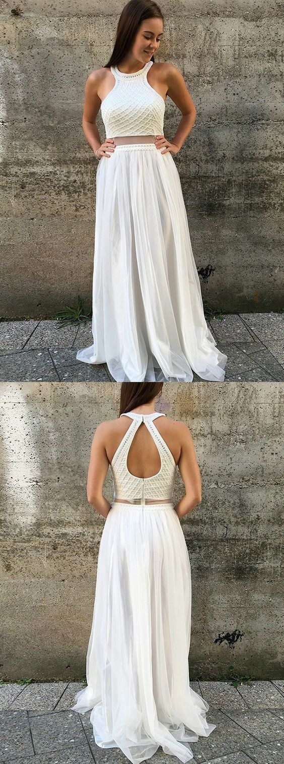 Elegant white formal party dresses with open back fashion prom