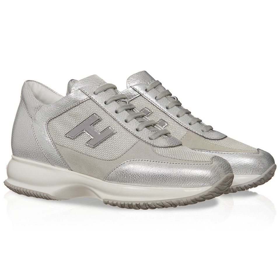 bd01253d92 Hogan Interactive women's sneakers in silver leather - Italian ...