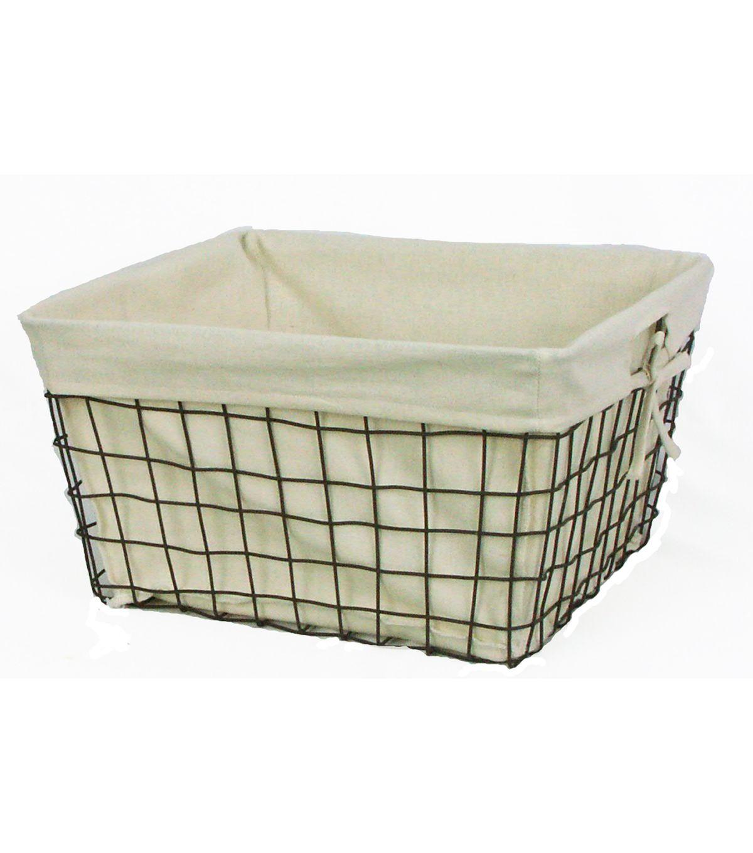 Organizing Essentials 16x14 Wire Basket With Ivory Liner   Home Decor U0026  Holiday   Storage U0026 Organiza