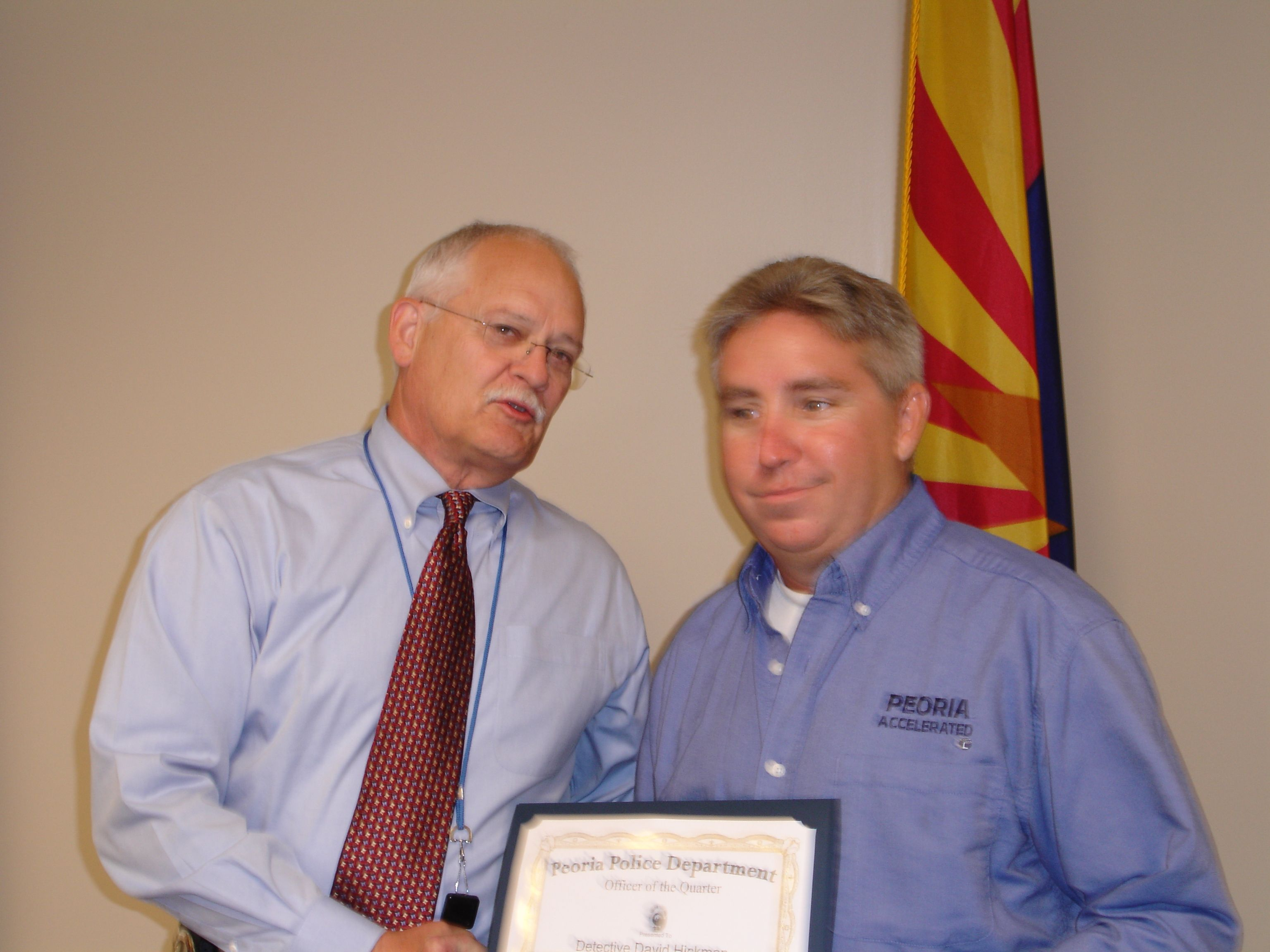 Detective D Hickman Receives The Employee Of The Quarter Award In 2008 Detective Police Department Employee