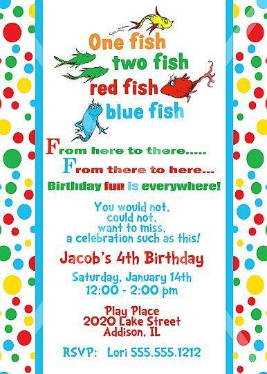 Dr Seuss One Fish Two Fish Birthday Invitation Printable
