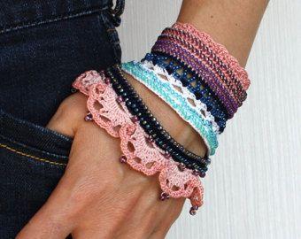 Pulsera Crochet negra brazalete de ganchillo ganchillo con