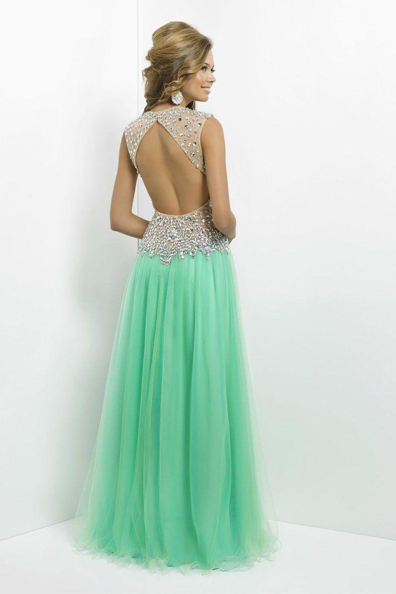 Aline keyhole back tulle vneck long natural waist prom dress