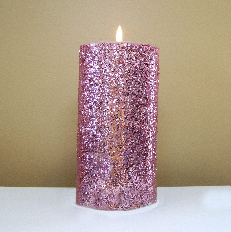 Pink Glitter Unscented Decorative Pillar Candle Choose Size Etsy Pillar Candle Decor Pillar Candles Candle Wedding Decor