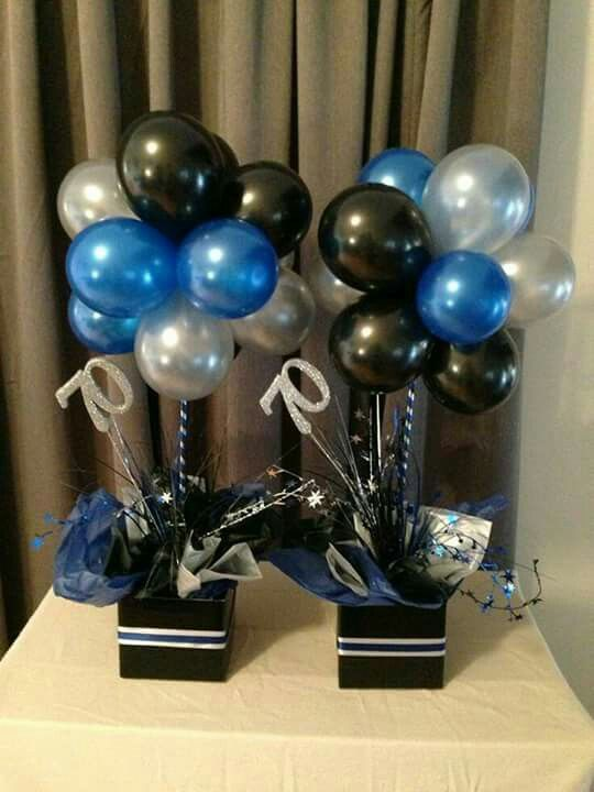 Ideas for centerpieces birthday party male blue silver and black balloon topiary trees table decoration also best images th parties rh pinterest