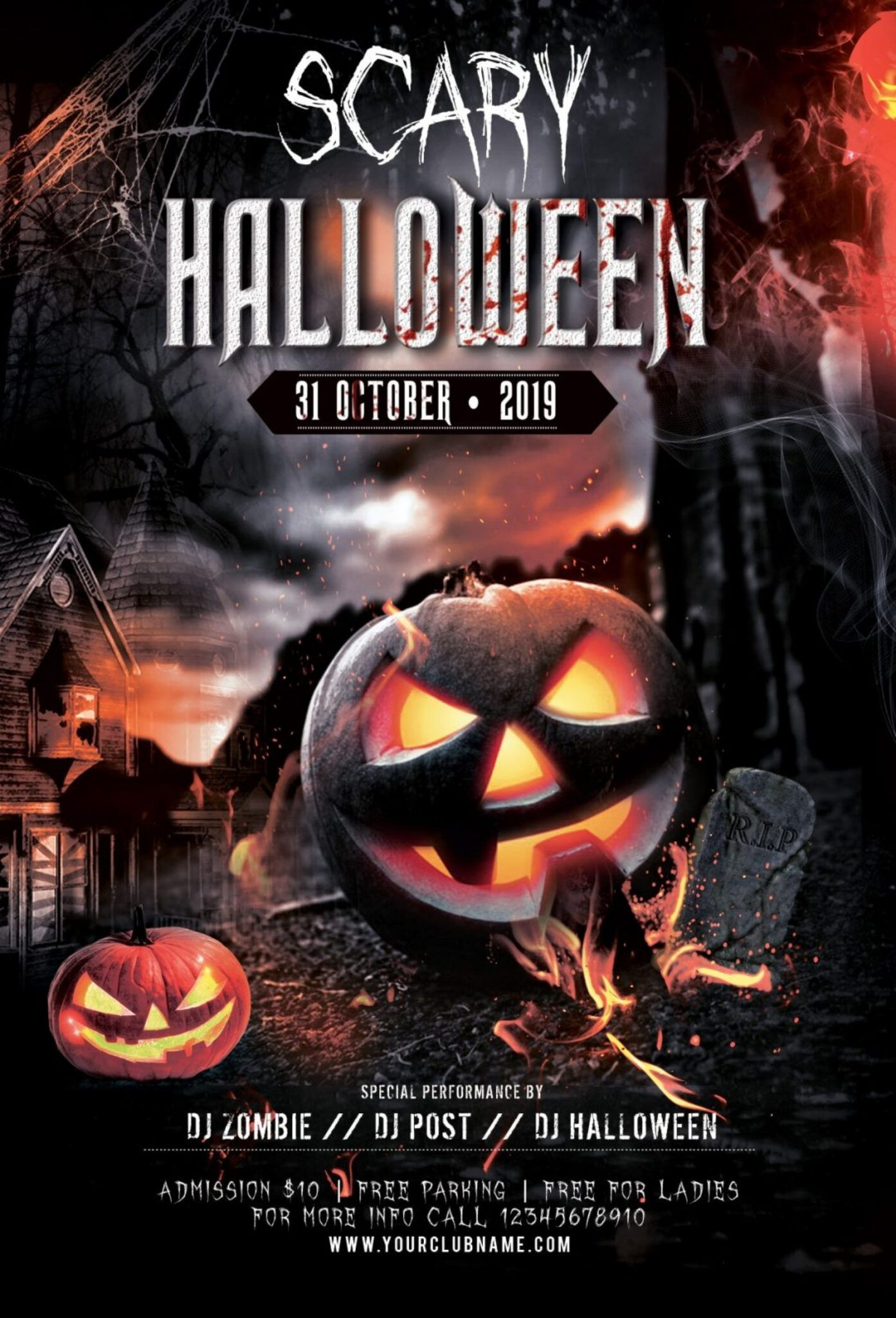 034 Free Birthday Flyer Templates Halloween Party