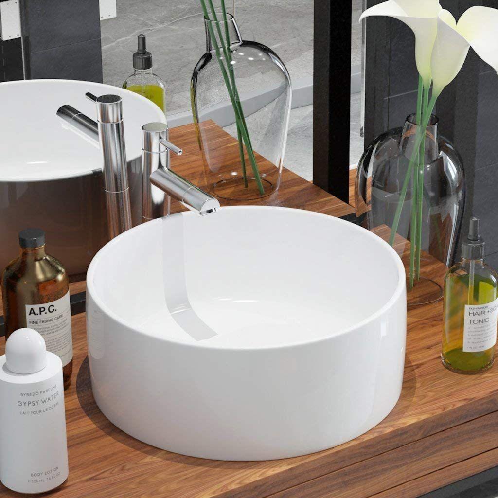 Interesting Vidaxl Keramik Aufsatz Waschbecken Waschtisch Waschplatz  Badzimmer Rund X Cm Amazonde Kche With Waschbecken Kche