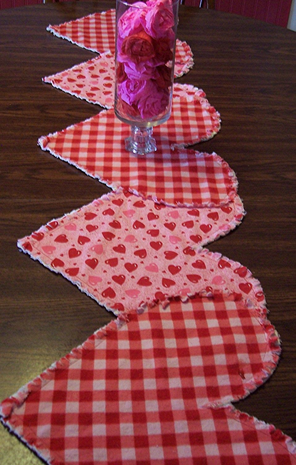 Valentine Table Runner Ruffled Heartstrings Pink And Red Table Centerpiece Raw Edge Whimsical Ruby Red Bubblegum Pink Valentine Table Runner Valentine Crafts Valentines Day Decorations
