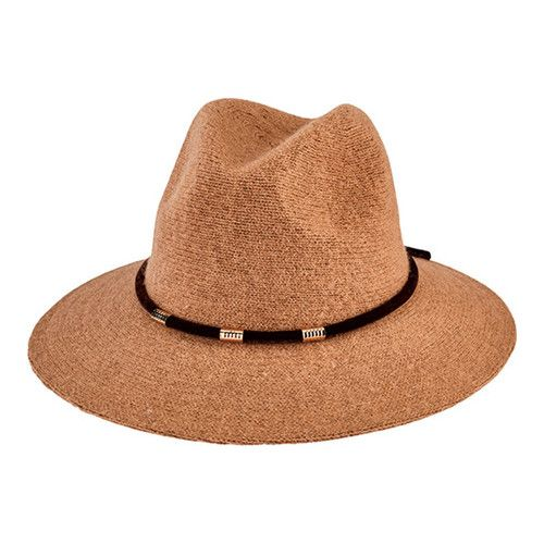 f79c110b6d1 Women s San Diego Hat Company Knit Fedora with Velvet Band Gold Trim  CTH8074 Hats