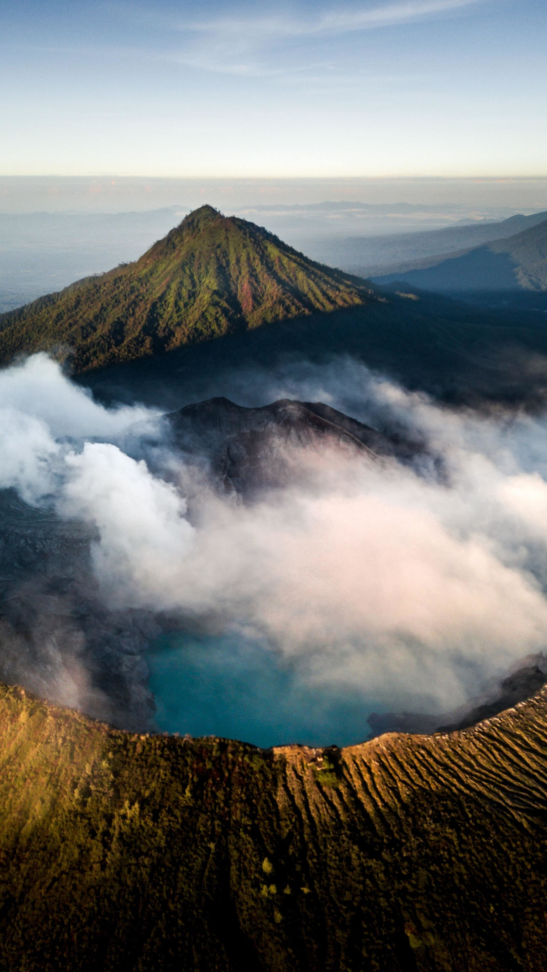 2160x3840 Clouds, mountain, aerial view, nature wallpaper
