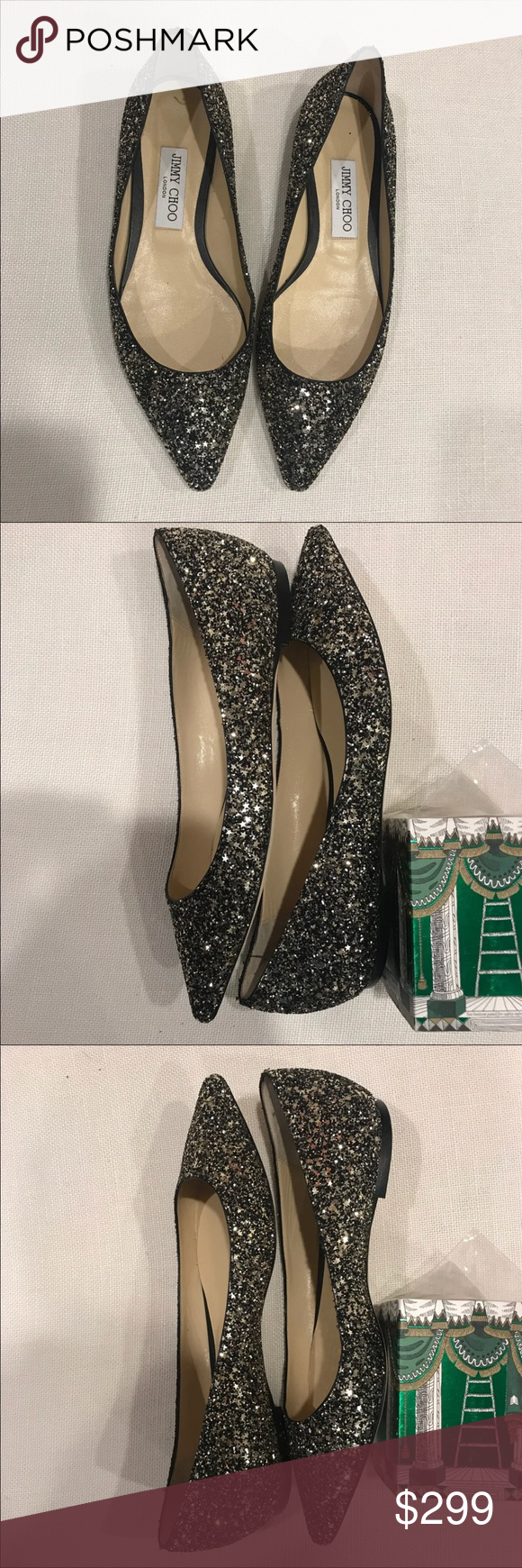 3c7bdf2a3e84 SALE Jimmy Choo Romy glitter flats -39 retail  650 PRICED TO SELL! Only  available