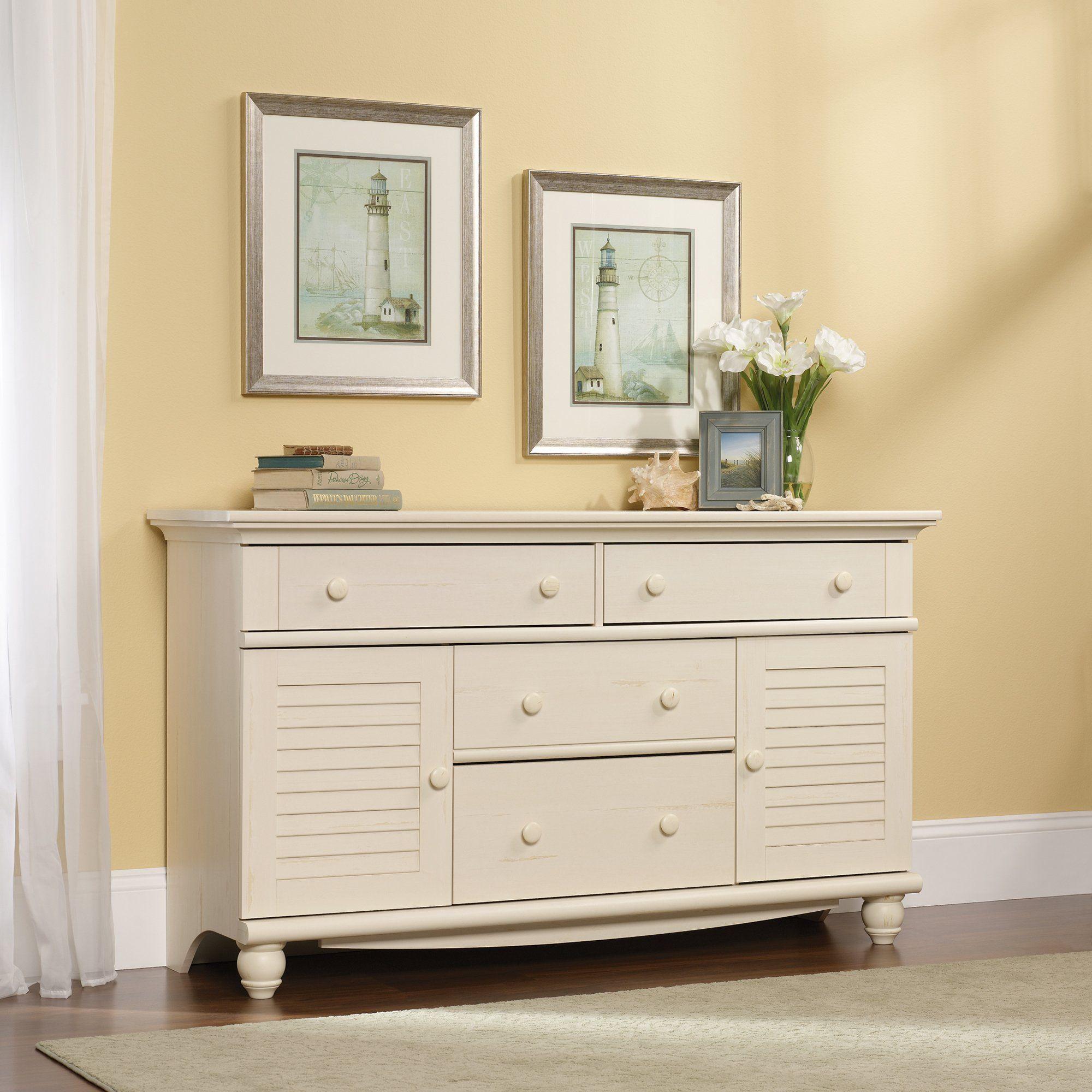Best Sauder 158016 Harbor View Antiqued White Dresser In 2019 400 x 300