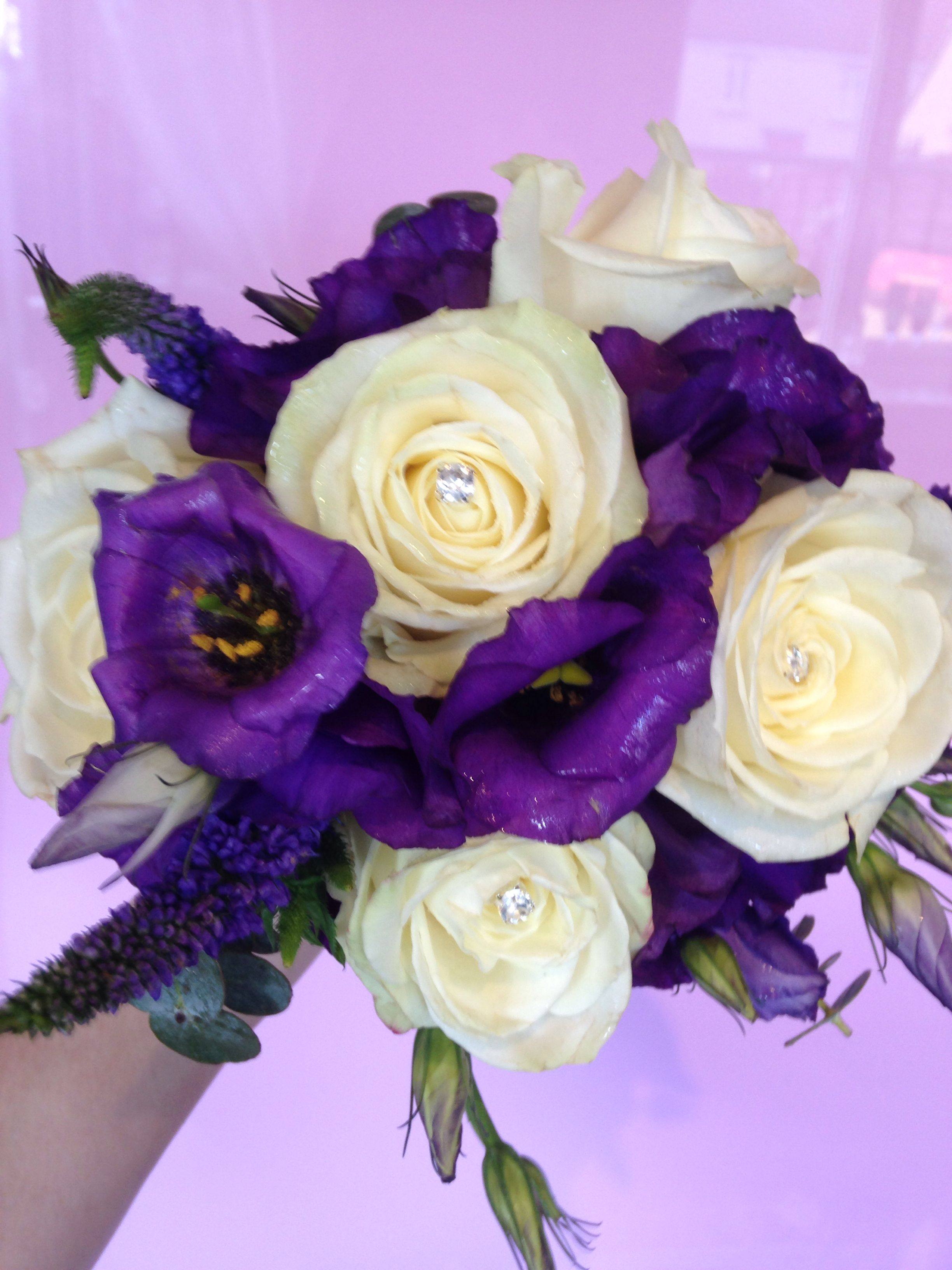 Cream roses and purple flower bridesmaid bouquet by www