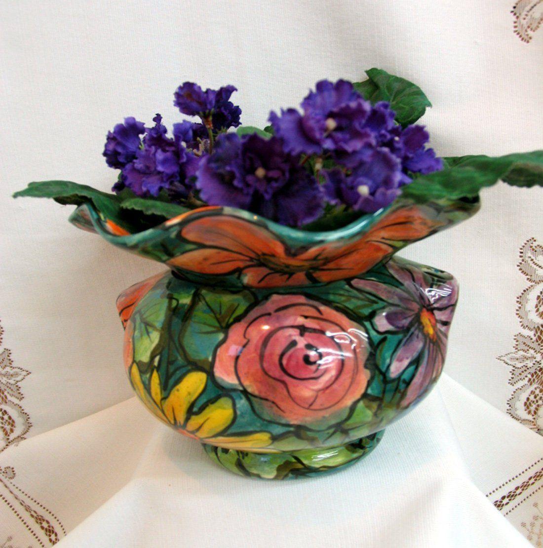 African violet planter impressionistic face flowers
