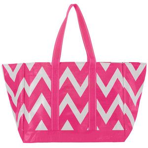Pink Chevron Beach Tote| Mixed Bag Designs | Ladies Pink ...