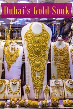 Planning travel to Dubai, UAE? Don't miss the gold market (souk) in Deira for the most epic necklaces and jewelry shopping in the world!: