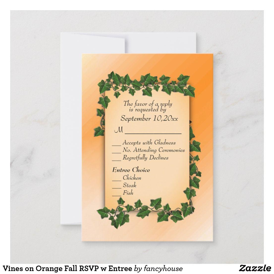 Fall Wedding Entree Ideas: Vines On Orange Fall RSVP W Entree