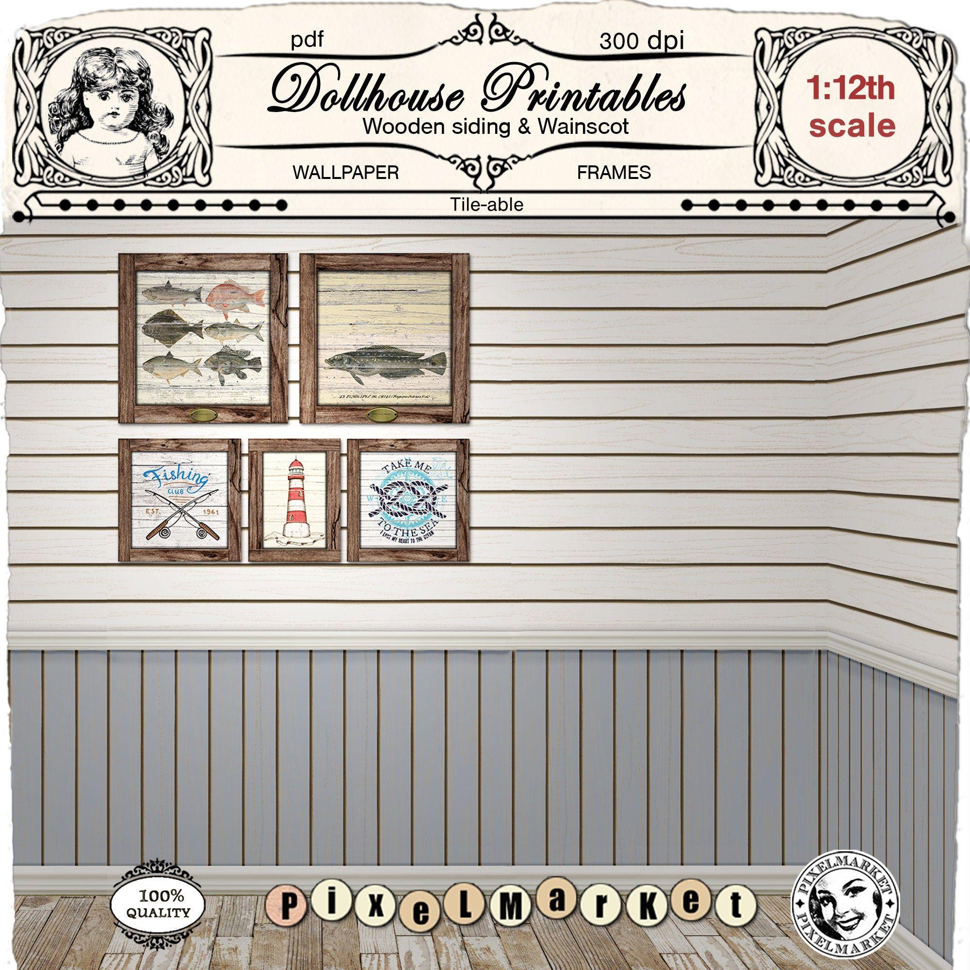 Dollhouse Printable Wallpaper 1 12 Miniature Cabin Log Siding Beach Cottage Shiplap Coastal Wallpaper Wooden Plank Beadboard Digital Sheet In 2020 Wooden Planks Coastal Wallpaper Easy Tile