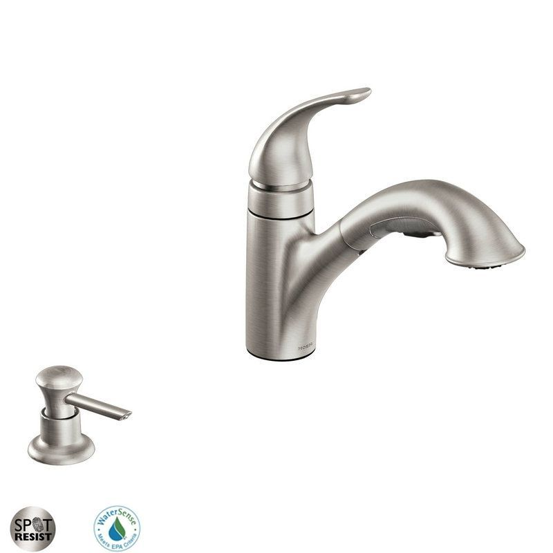 Moen Ca87550 Single Handle Kitchen Faucet With Pullout Spray And