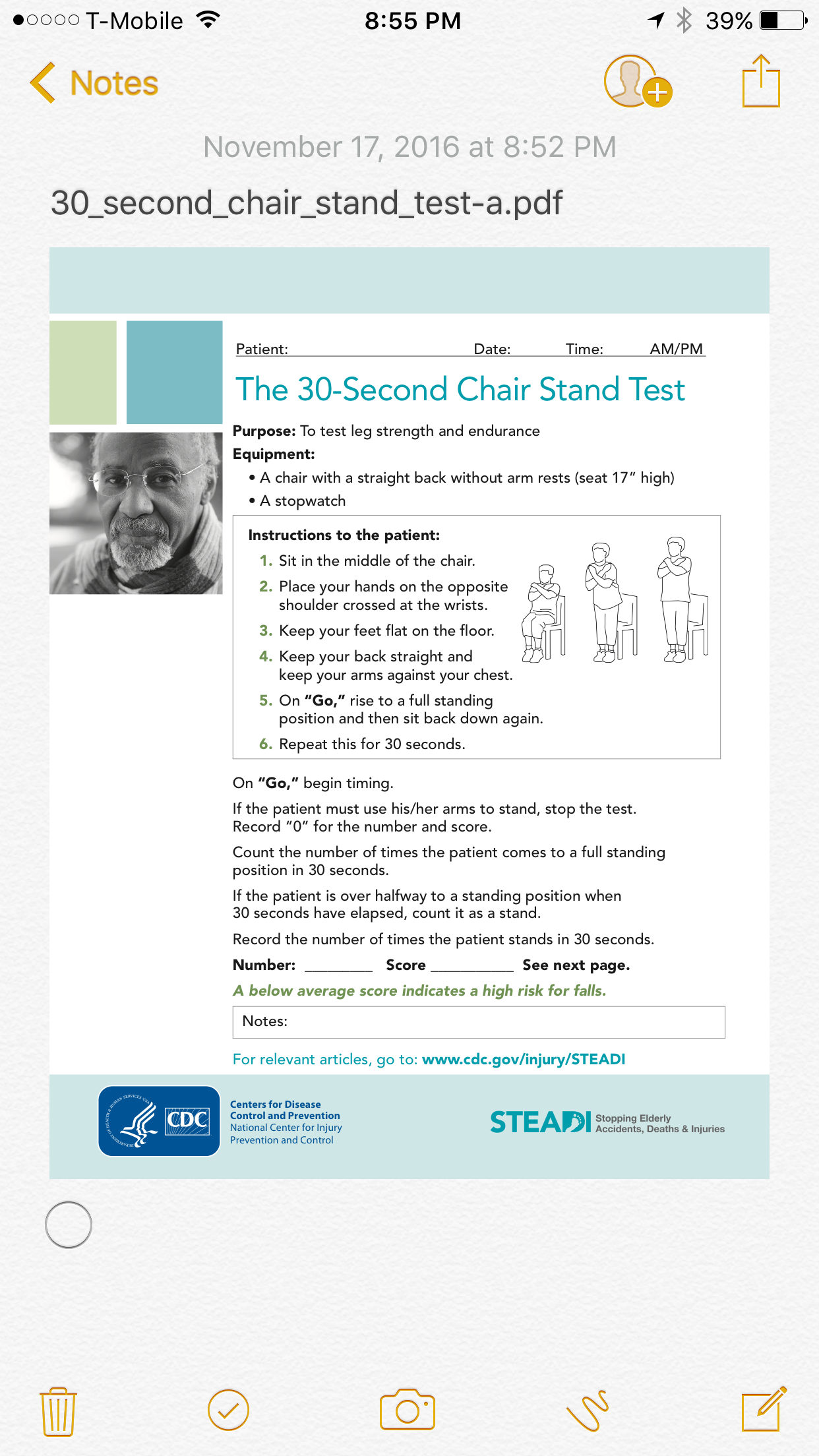 Chair Stand Test Protocol Sleep Recliners 30 Second Expert Event