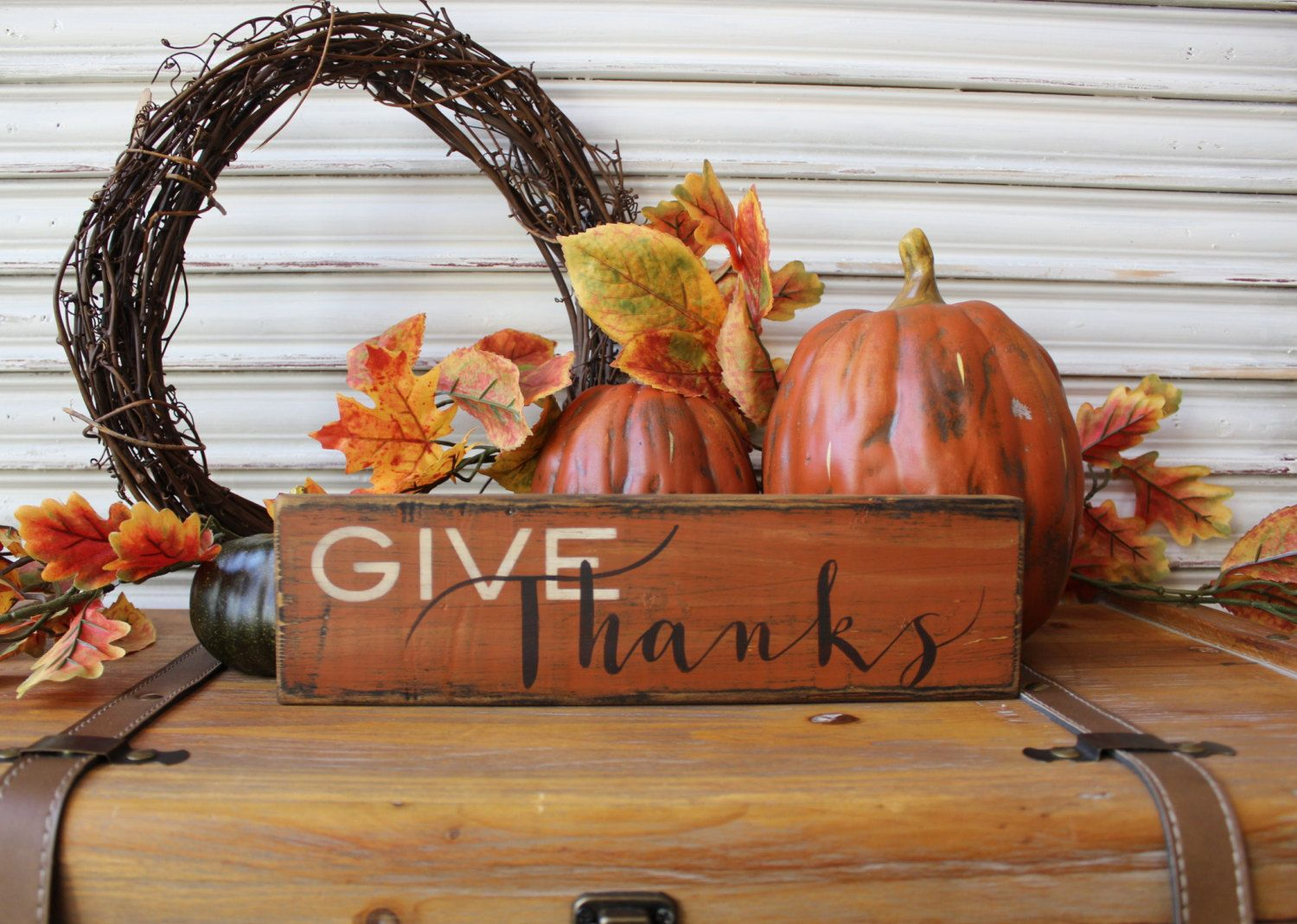 Fall Wood Sign, Give Thanks Wood Sign, Thanksgiving Sign, Fall Decor, Hanging Wood Sign, Rustic Wood Sign, Autumn Decor,Distressed Wood Sign by TinSheepShop on Etsy