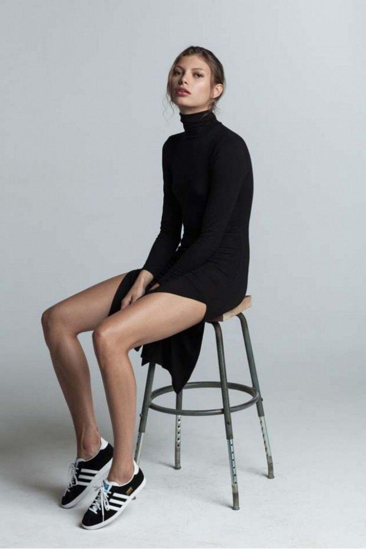 Black polo neck, split skirt + Adidas Gazelle trainers | @styleminimalism