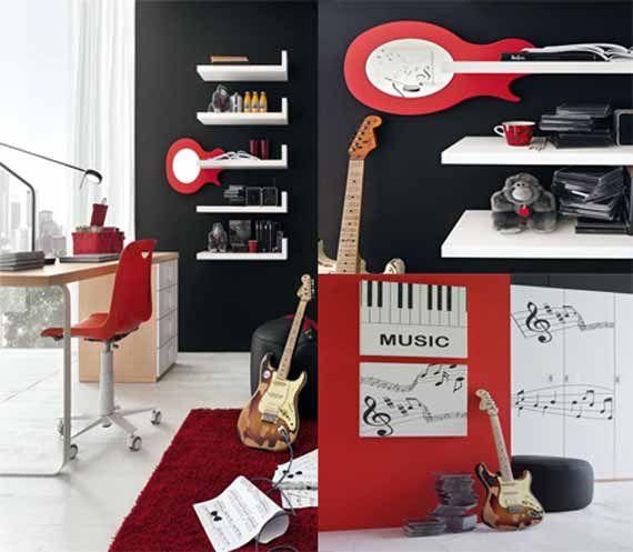 Modern teens boy music bedrooms interior design ideas for Bedroom ideas music theme