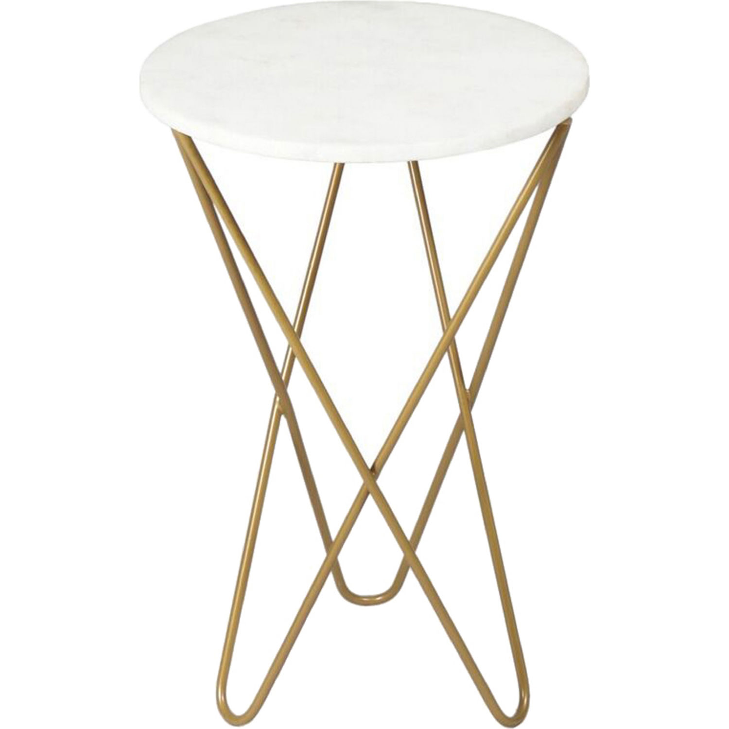 Renwil Cinda Accent Table In White Marble On Gold Hairpin Legs Side Table Accent Table Decor Modern Table Base
