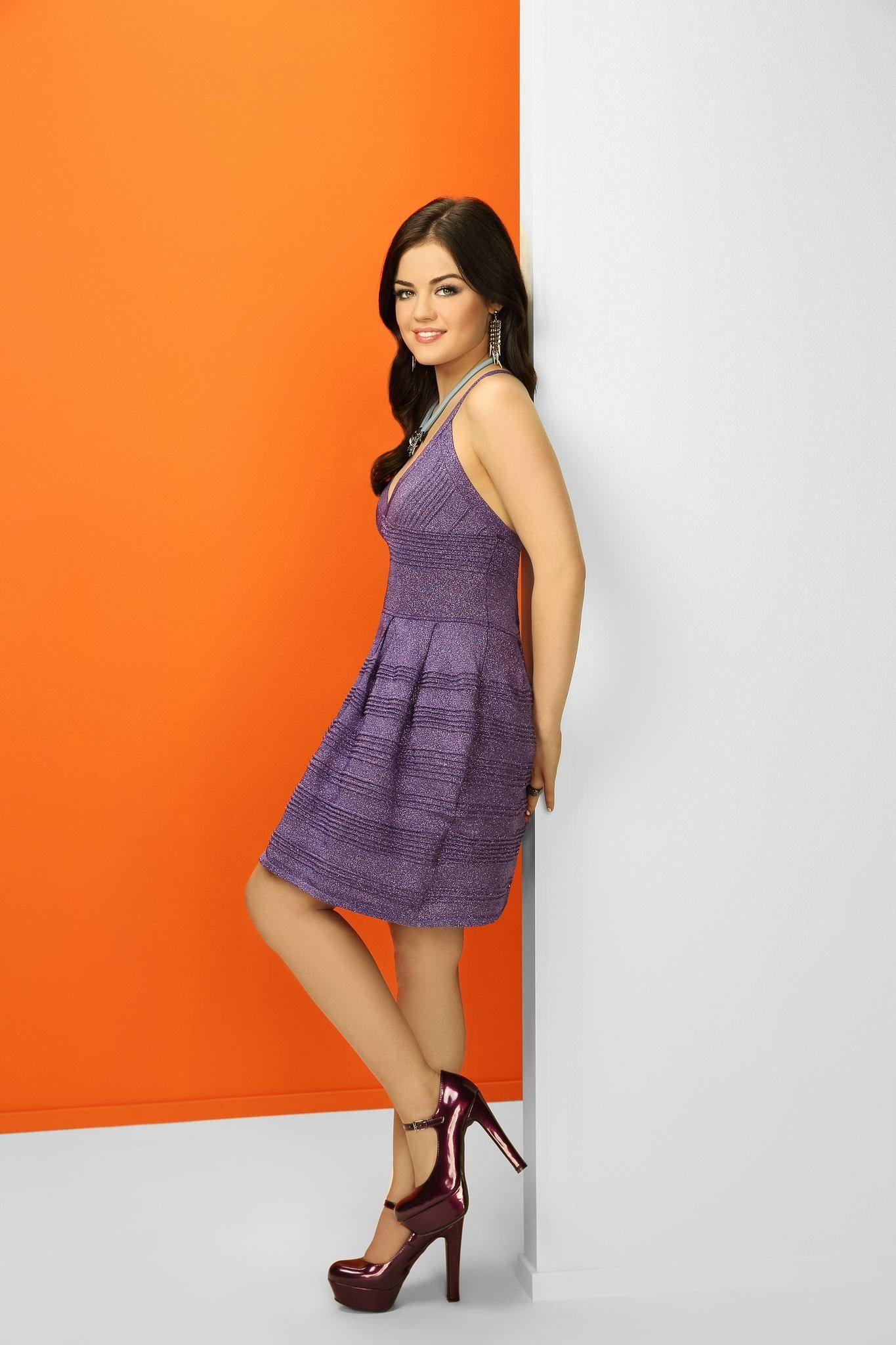 1010499 10151477133220233 315908353 N Random Swag Pinterest Pensil Alis Shopie Paris Lucy Hale Aria Montgomery Wears Purple Dress During Pretty Little Liars Season 4 Promo Shoot