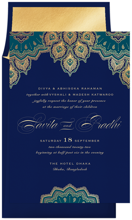 Exquisite Peacock Invitations in Blue in 2020 | Peacock wedding ...