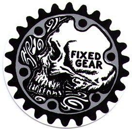 Fixed Gear Skull Round Bike Sticker Bike Stickers Print