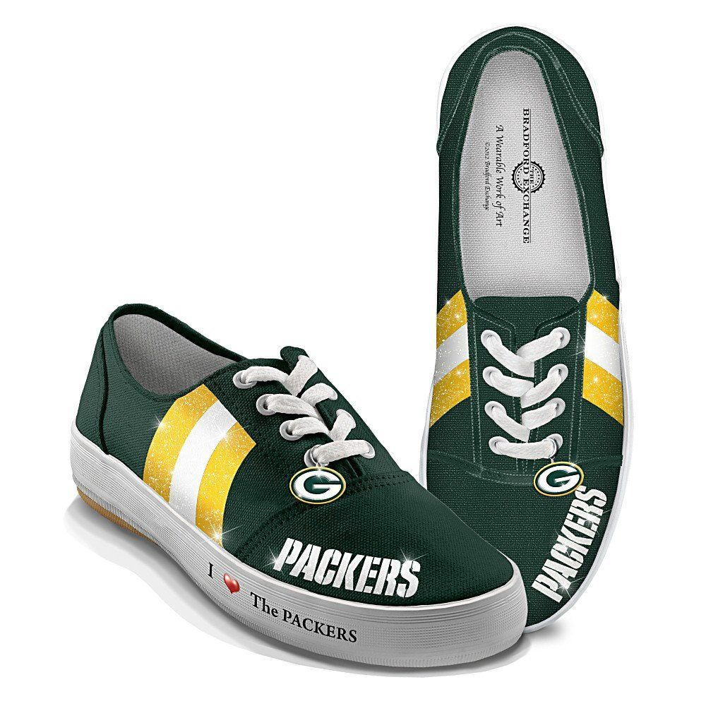 Nfl Green Bay Packers Women S Shoes I Love The Packers By The Bradford Exchange Green Bay Packers Shoes Green Bay Packers Women Packers Womens
