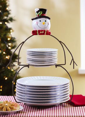 Snowman Buffet Rack Holiday Plate Holder | CHRISTMAS PARTY ...