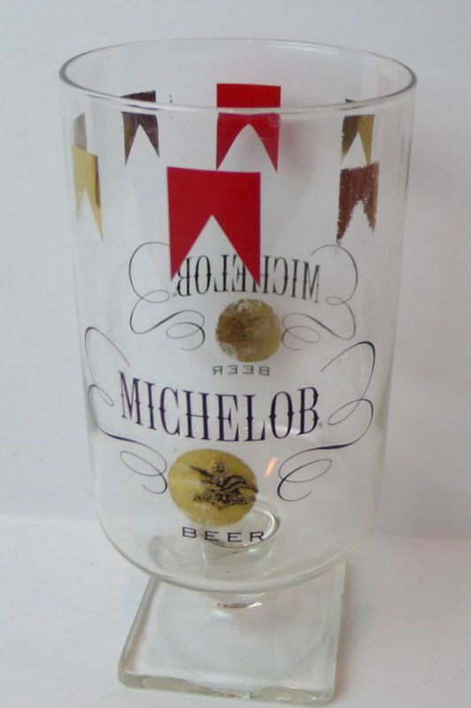 Details about michelob beer glass footed square pedestal glassware vintage beer and liquor - Square bottom wine glasses ...