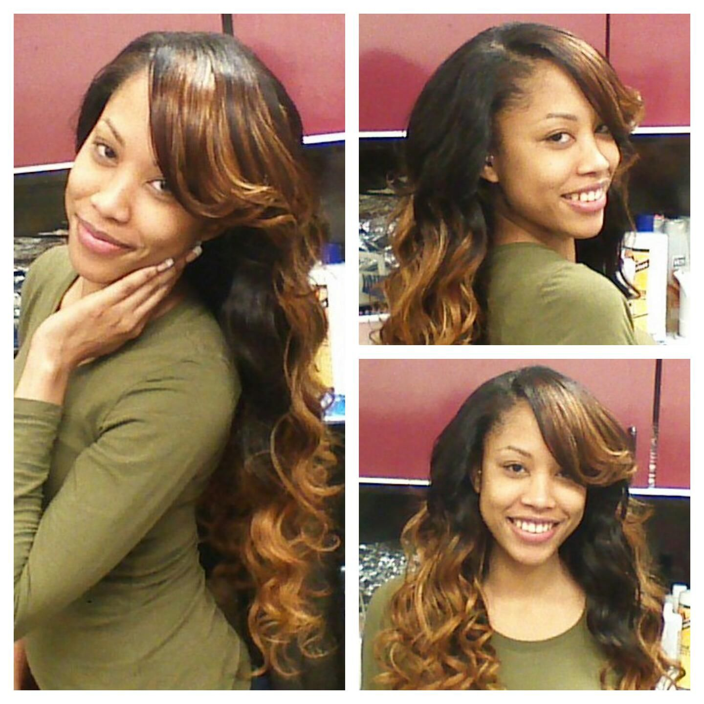 partial sew in brazilian body wave virgin hair and custom color by