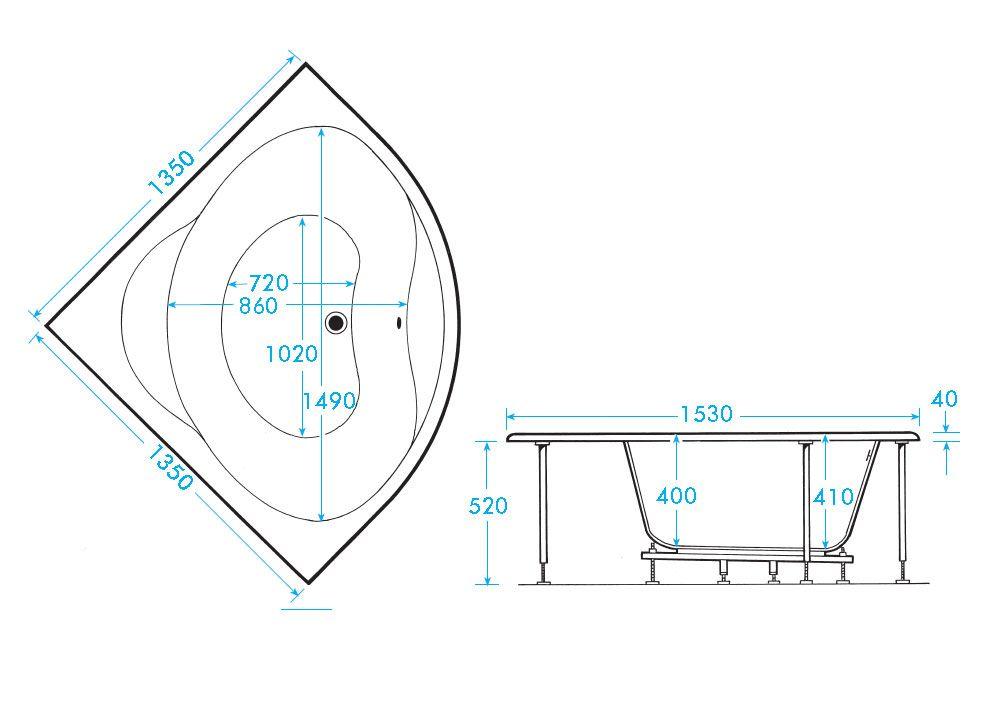 Superb Corner Tub Sizes Part - 7: Trojan Laguna Corner Bath Tub 1350 X 1350mm