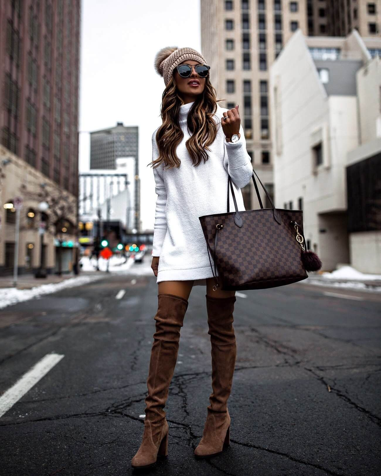 White Sweater Dress and OTK Boots - Mia Mia Mine