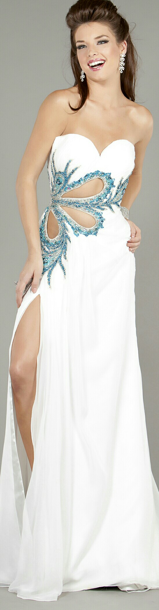 Jovani white promevening dress w teal paisley beading on r side