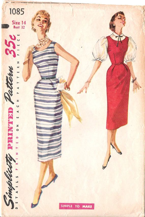 Simplicity 1085 - 1950s Rockabilly Wiggle Dress Jumper and Blouse ...