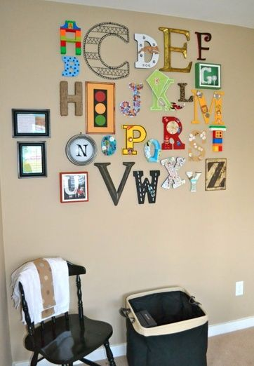 all family members were assigned a letter, to decorate new babys wall