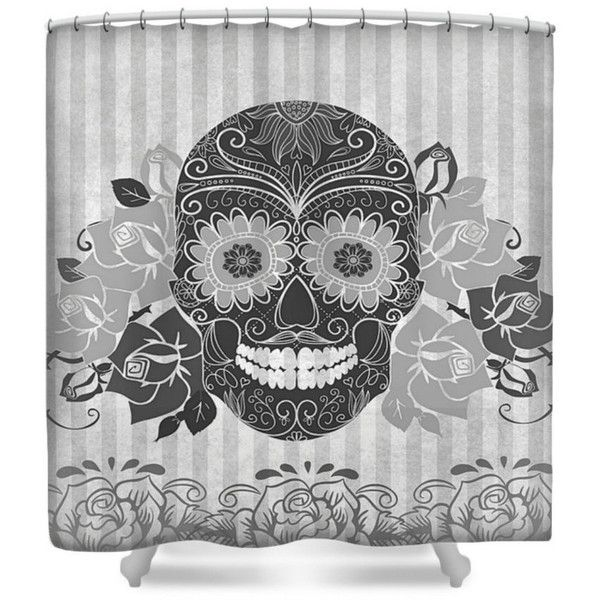 Sugar Skull Shower Curtain Gray And Black 60 Liked On