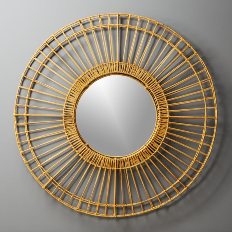 Shop Ferris Natural Round Wall Mirror 41 5 Double Layered Rattan Forms Open Framework Reminiscent Of A Ferr Round Wall Mirror Mirror Wall Modern Mirror Wall