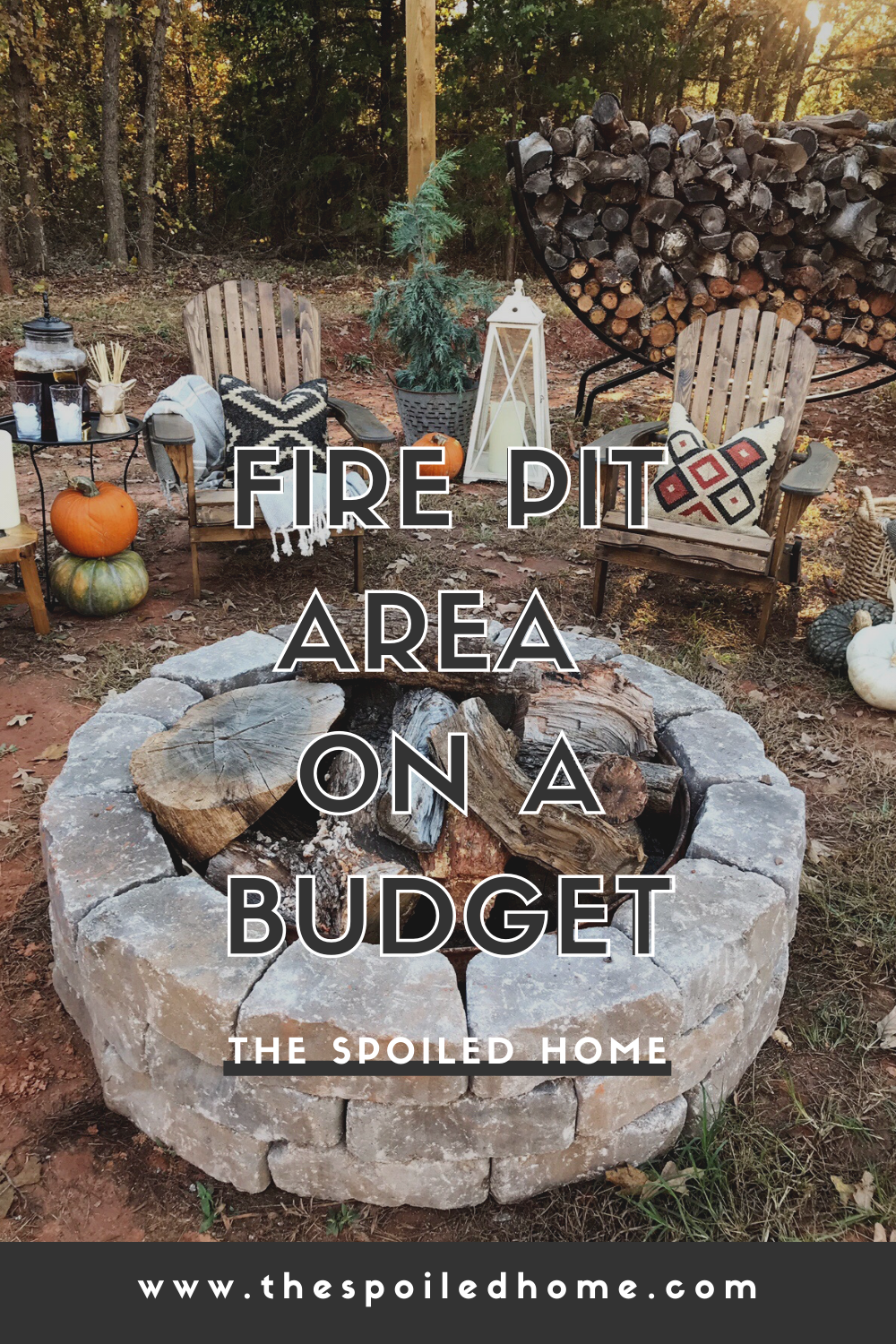 Check out our DIY fire pit area and outdoor space on a budget. Adirondack chairs, string lights, wood holder and more DIY ideas.#FirePitIdeas FirePitIdeasOnABudget #thespoiledhome #firepit