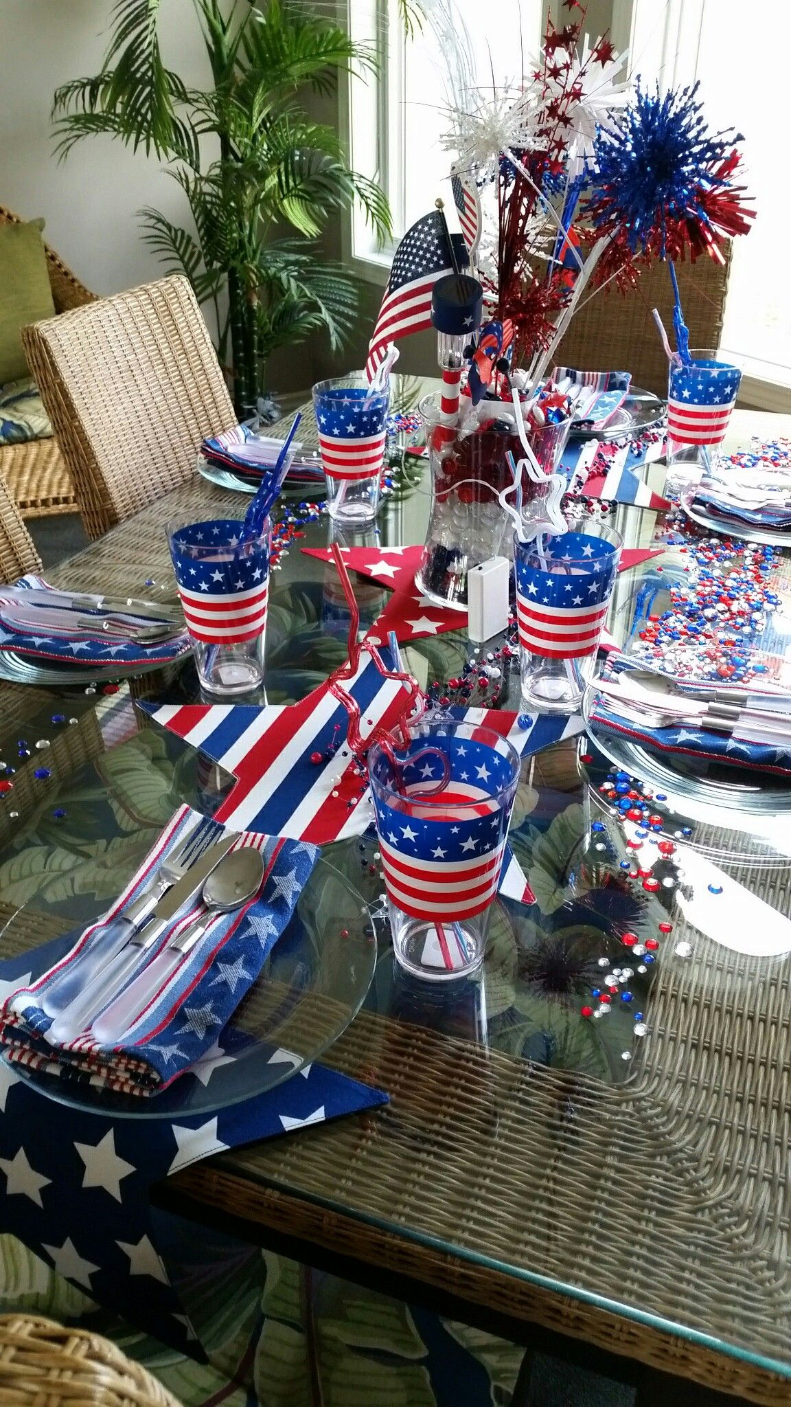 Dollar tree striped straws plates flags herbergers