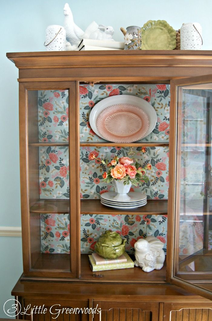 China Cabinet Makeover Without Painting 3 Little Greenwoods