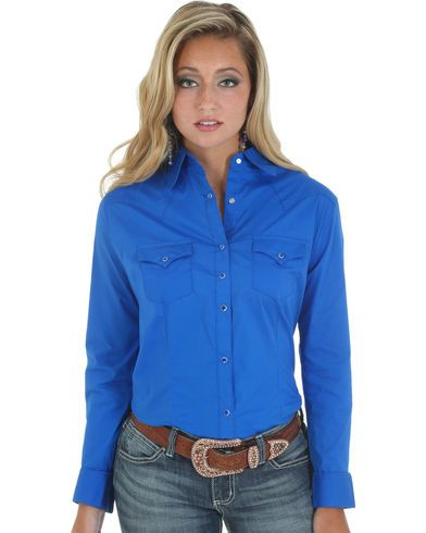 Wrangler Women's Solid Blue Snap Pocket Western Shirt  | Sheplers